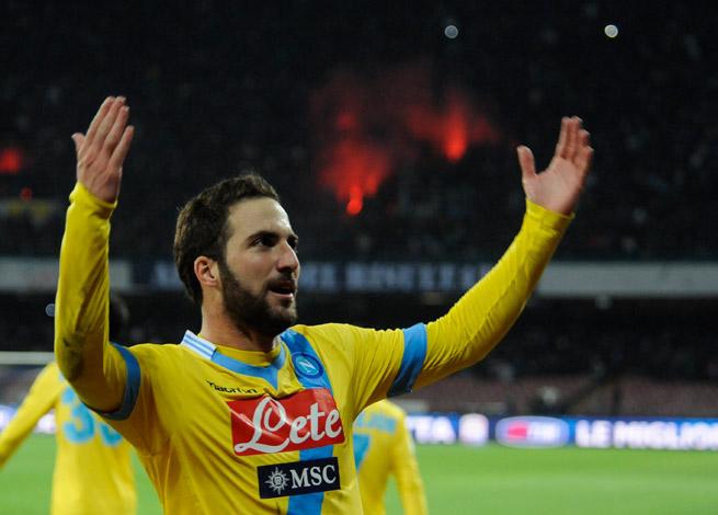 Gonzalo Higuain celebrates his goal that lifted Napoli by Lazio and into the Coppa Italia semifinals.