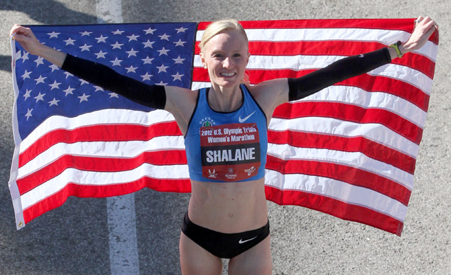 Shalane Flanagan set the U.S. Olympic Marathon Trials record with a time of 2:25:38 in Houston in 2012.