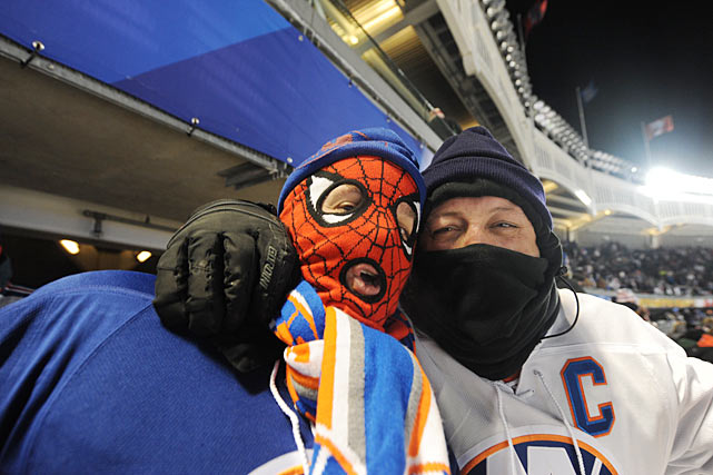 With the Big Apple trapped in a week-long Arctic vortex, fans were forced to bundle up against temperatures that started at 22 degrees for the opening puck drop and steadily descended toward zero as the wind chill played its part.