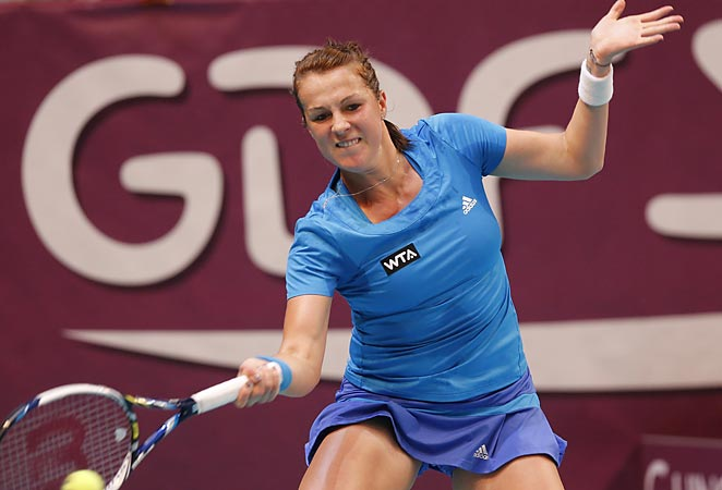Anastasia Pavlyuchenkova scored a win over Maria Sharapova at the Gaz de France WTA OPen on Saturday.
