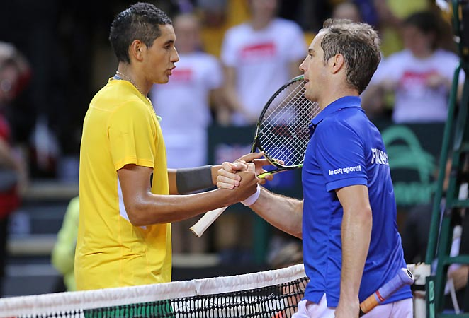 Richard Gasquet helped France to a doubles win over Australia in the Davis Cup.