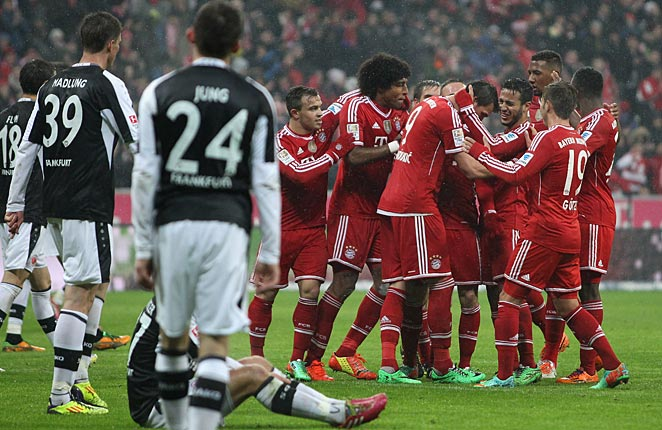 Bayern Munich maintained their commanding lead at the top of the Bundesliga with a big win over Frankfurt on Sunday.