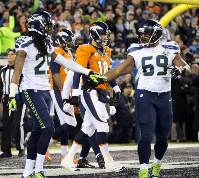 Richard Sherman (left) and Clinton McDonald helped the Seahawks to a 22-0 halftime lead.