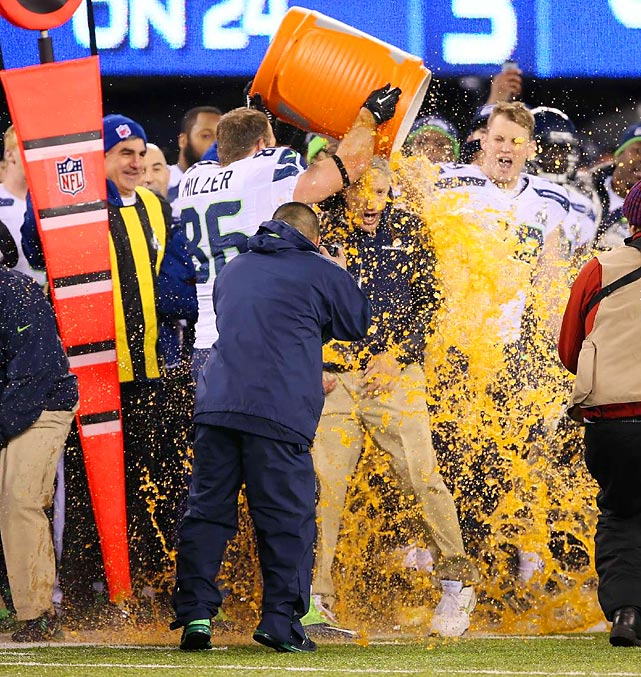 The game was so out of hand in the fourth quarter that the Seahawks had time to douse coach Pete Carroll with Gatorade.