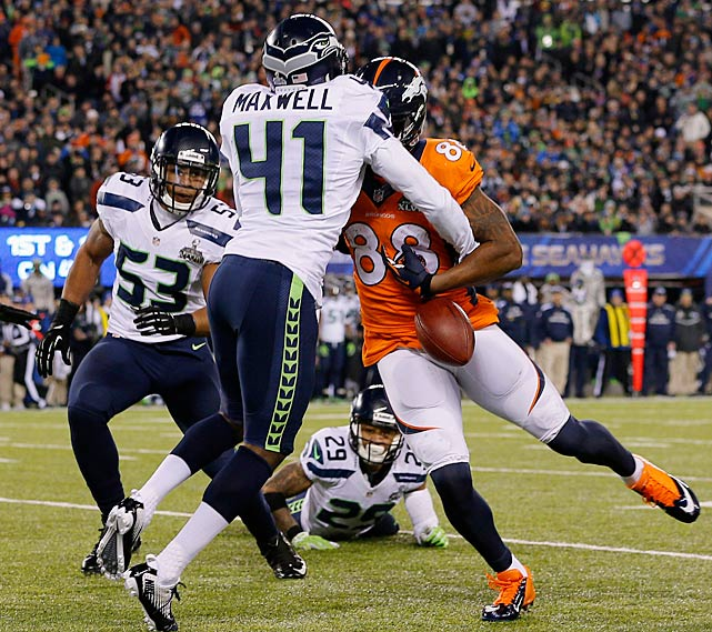 Bobby Wagner punched this ball out of the arms of Demaryius Thomas in the third quarter for a fumble that the Seahawks recovered.