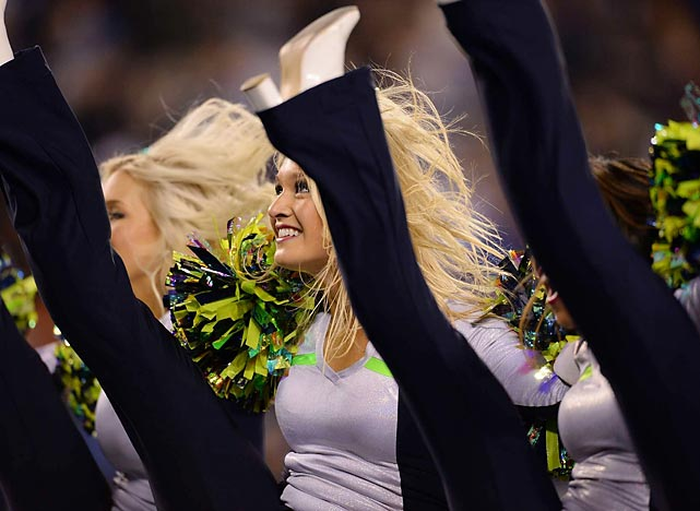 Seahawks cheerleaders celebrate during their team's 43-8 victory over the Denver Broncos in Super Bowl XLVIII.