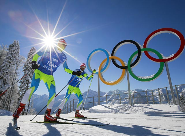 Members of the Slovenian cross-country ski team ski in Krasnaya Polyana, Russia, ahead of the 2014 Sochi Games, which begin Friday.
