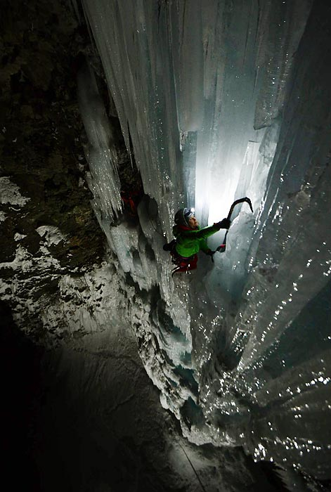 Canadian Jen Olson and Frenchman Aurélien Vaissière climb an ice fall in Italy.