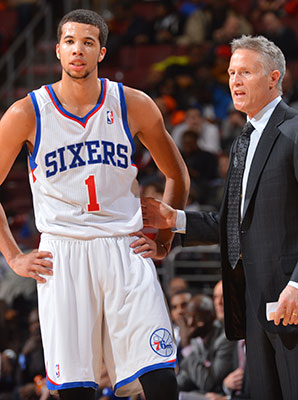 Brett Brown (right) wasn't always a believer in Michael Carter-Williams as an NBA player.