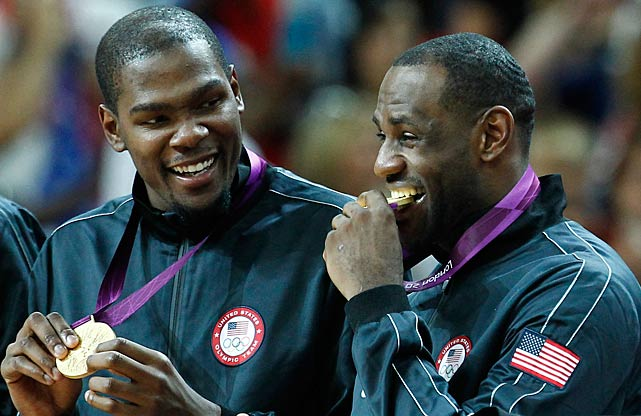 Kevin Durant and LeBron James with their gold medals following a 107-100 Team USA victory over Team Spain in London.