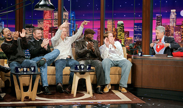 "After the Red Sox won their first championship in 86 years in 2004, members of the team appeared on <italics>The Tonight Show</italics>. Leno tore open his shirt to reveal a ""Papi"" t-shirt."