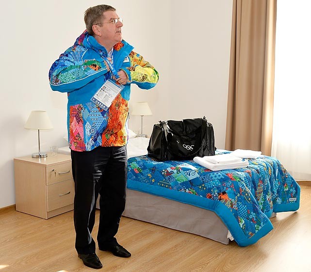 "The President of the International Olympic Committee was blessed with luxe accomodations in the Athletes Village, but some folks were not as lucky, particularly Team Slovaki's 6' 9"" defenseman Zdeno Chara."