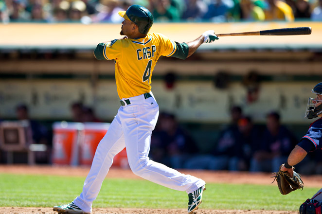 Crisp, starting his fifth season with the Athletics, batted .261 with the 22 homers, 66 RBIs and 21 steals last year.