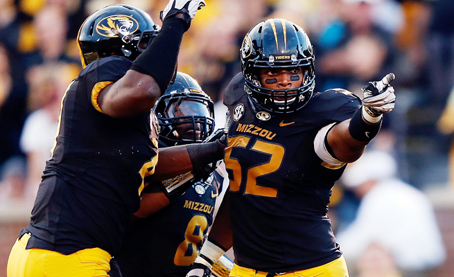 Michael Sam (52) was an undersized two-star recruit when he arrived at Mizzou from Hitchcock, Texas.