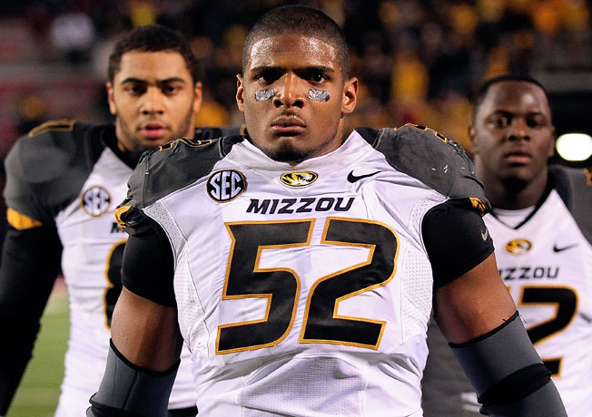 Michael Sam (52), who recorded an SEC-high 11.5 sacks last season, is preparing for the '14 NFL draft.