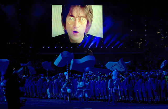 "A video of John Lennon singing ""Imagine"" is projected during the closing ceremony of the 2012 Summer Olympics in London."