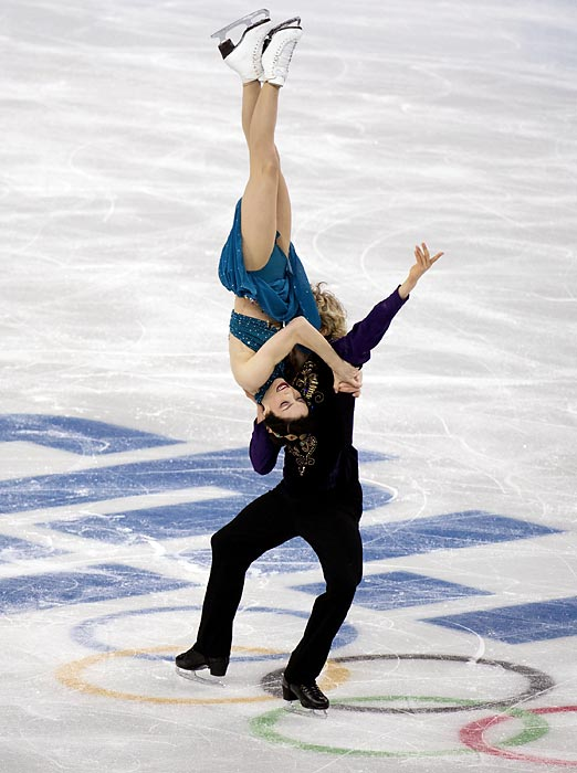 American pair Charlie White and Meryl Davis compete in the team ice dance free dance. The U.S. team won a bronze medal in the competition.