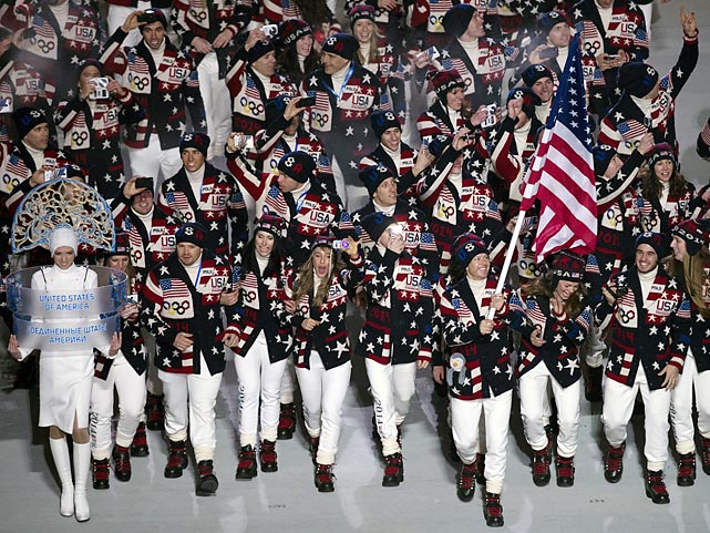 Team USA enters Fisht Olympic Stadium during the Opening Ceremony's Parade of Nations. There are 230 American athletes participating in the 2014 Sochi Games.