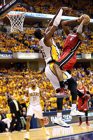 Roy Hibbert's ability to challenge shots without fouling is a key part of the Pacers' defense against the likes of LeBron James.