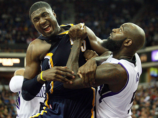 At 290 pounds, Roy Hibbert can use his heft to do battle with the likes of the Kings' Quincy Acy.