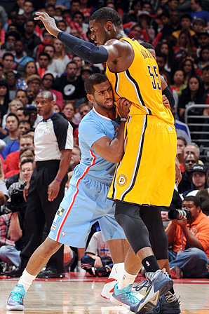 Roy Hibbert, who used to tell strangers that he was a jockey, towers over guards such as Chris Paul.