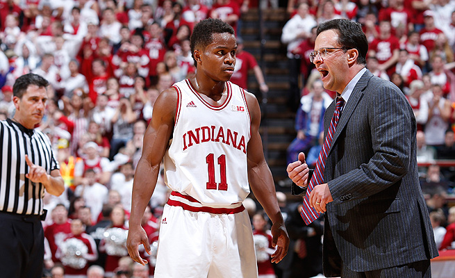Tom Crean's (R) Hoosiers have struggled on the road and will likely miss the tournament because of it.