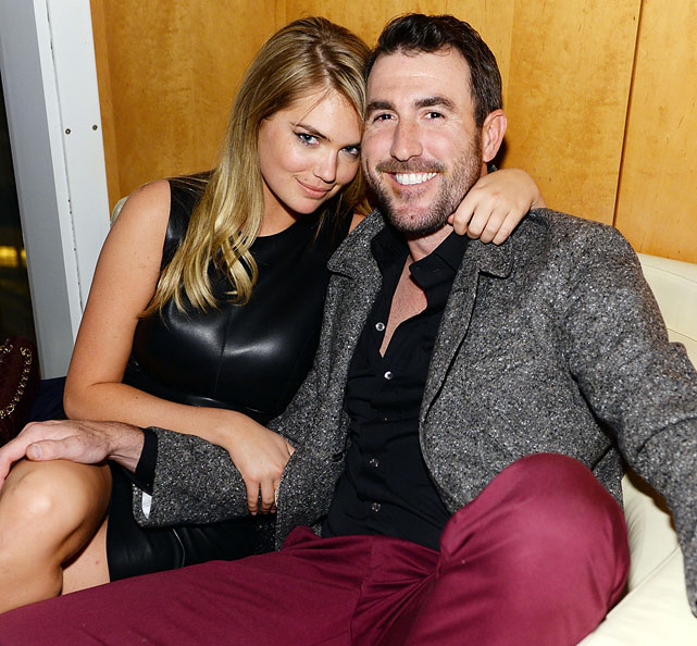 The Detroit Tigers pitcher and SI Swimsuit model first met while shooting a video game commercial in February 2012. In mid-October 2012, the hurler's grandfather confirmed the two were dating, but the couple reportedly split in early 2013. However, Upton and Verlander appear to be back together in 2014, as seen here at the GQ Super Bowl XLVIII Party.