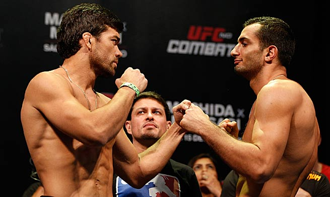 Lyoto Machida, left, and Gegard Mousasi will be the featured combatants Saturday in Brazil.