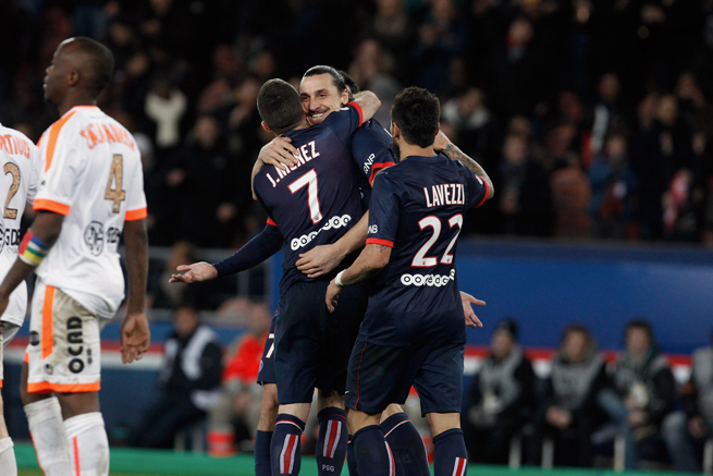 Zlatan Ibrahimovic is congratulated by teammates after scoring in Friday's 3-0 win over Valenciennes.