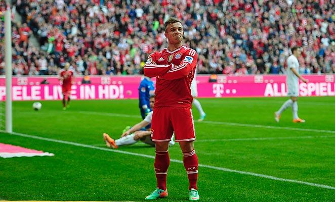 Xherdan Shaquiri scored twice in yet another Bayern Munich win on Saturday.