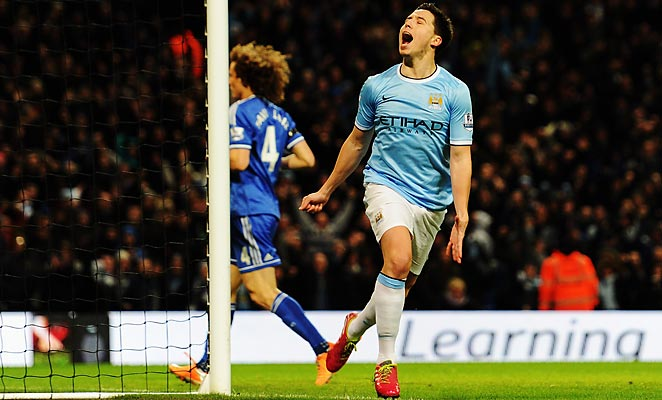 Samir Nasri scored on his return from injury as Manchester City eliminated Chelsea from the FA Cup.