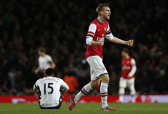 Per Mertesacker will head to the FA Cup quarterfinals with Arsenal after defeating Liverpool.