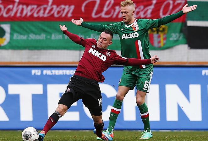 Josip Drmic (left) scored as Nuremburg climbed out of the Bundesliga relegation zone with a win on Sunday.