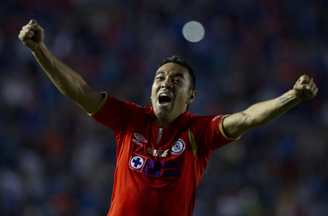 Cruz Azul star Marco Fabian celebrates his game-winning goal against Puebla over the weekend.