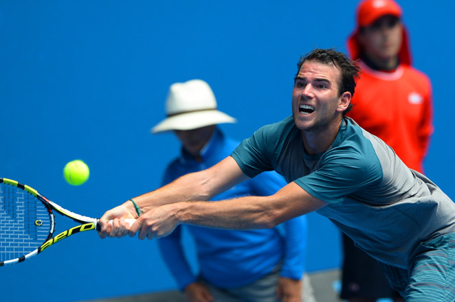 Adrian Mannarino beat Jack Sock to move into the second round of the Delray Beach Open.