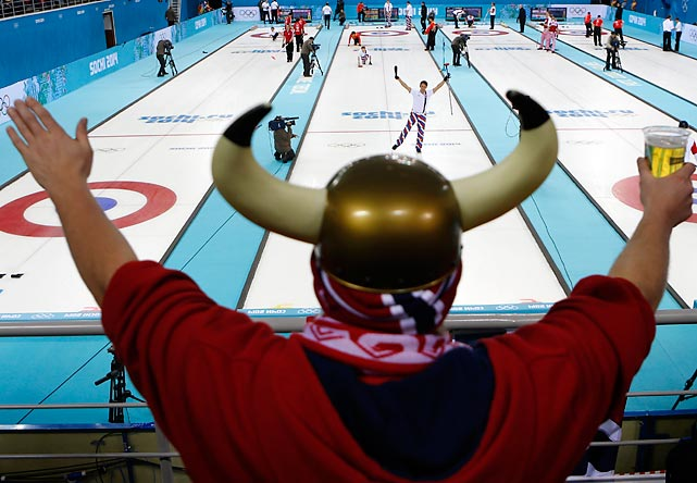 In honor of NFL Combine time, we present a picture of a Vikings scout discovering a potential quarterback prospect in Thomas Ulsrud of Norway at the men's competition in Sochi.