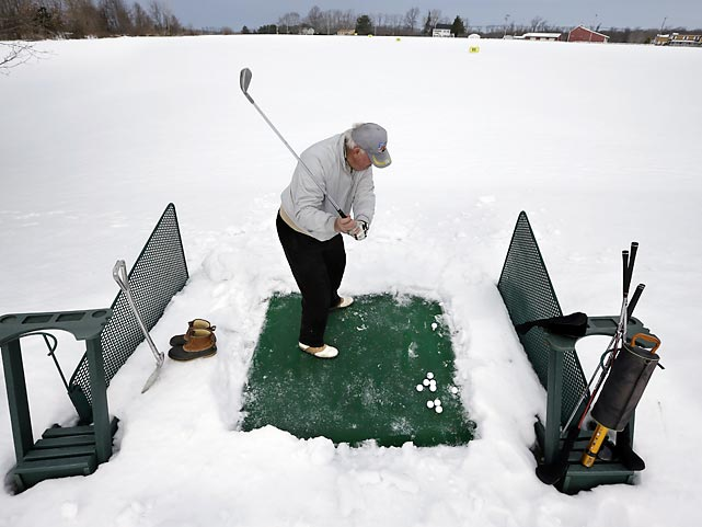 Despite a stretch of rugged weather, Rich Lukasik of aptly named Whiting, NJ, got some practice hacks in at driving range in aptly named Cream Ridge.