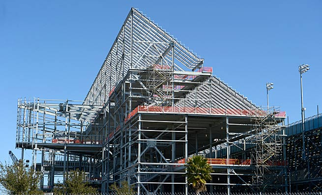The new grandstands under construction sit along the front stretch before Turn 1 at Daytona..
