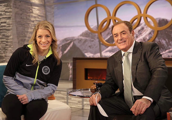 Al Michaels, with moguls bronze medalist Hannah Kearney, helped hold down NBC's Sochi coverage.
