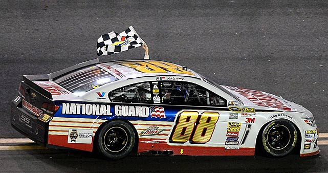 Dale Earnhardt Jr. celebrates with the checkered flag after his second Daytona 500 victory.