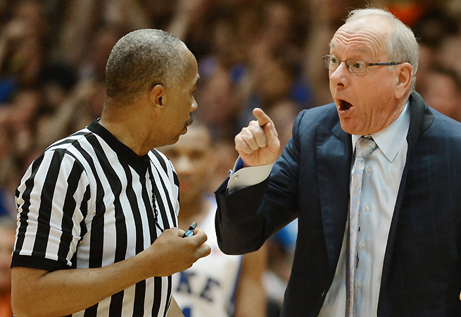 Tony Greene (left), who ejected Jim Boeheim from Saturday's game against Duke, is one of the most respected referees in the game and officiated last year's national championship.
