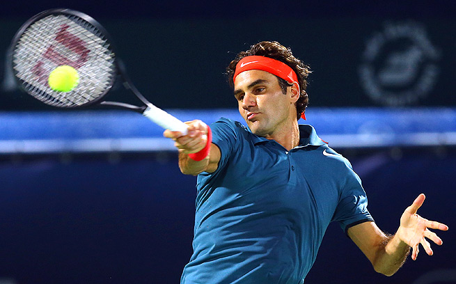 Roger Federer opened up his chase for a sixth title at the Dubai Championships with a 6-1, 6-4 win over Benjamin Becker.