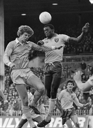 A combination of size, strength and technique made Justin Fashanu, center, a sought-after target.