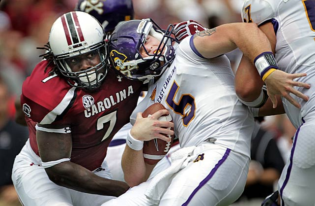 Clowney brings down East Carolina quarterback Shane Carden.