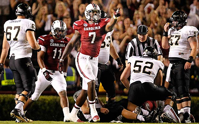 Clowney celebrates after sacking Vanderbilt quarterback Austyn Carta-Samuels, which caused a fumble.
