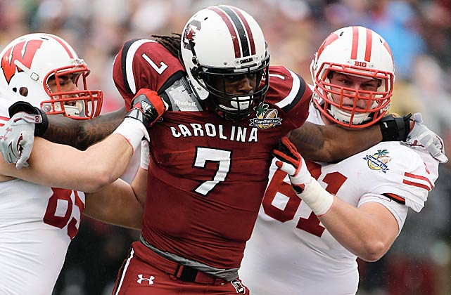 Clowney bulldozes his way past the Wisconsin Badgers at the Capital One Bowl.