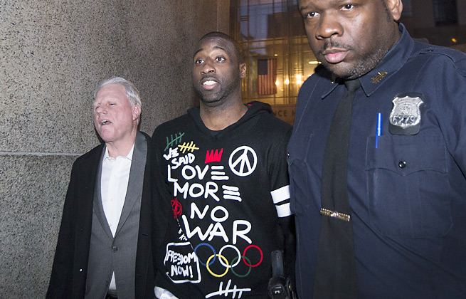 Raymond Felton (center) was released on $25,000 bail after being arrested for gun possession.