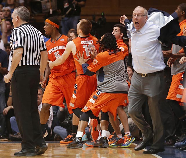 In other racing news, Syracuse's revered hoops coach blew a gasket after an official had the audacity to make an offensive charge call against Boeheim's beloved Orange in the waning seconds of their game against Duke in Durham, N.C. The Blue Devils ended up winning, 66-60, and the coach was given the heave-ho during a regular season tilt for the first time in his storied career.