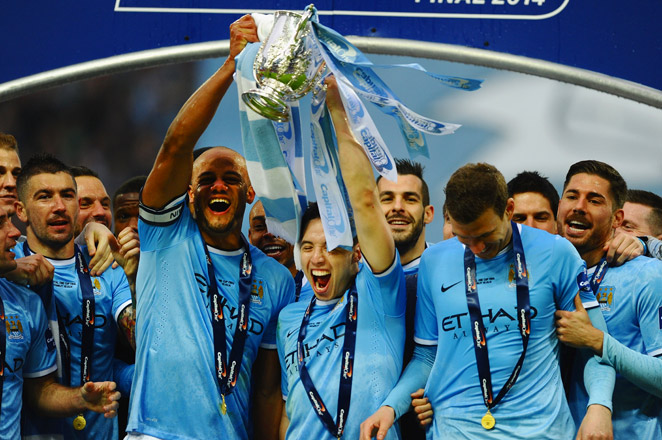 Manchester City fell behind 1-0 to Sunderland just ten minutes in, but rallied back to win the League Cup at Wembley Stadium.