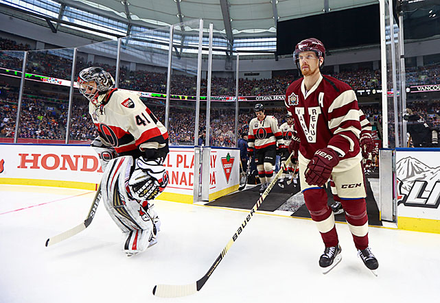 The game between the Ottawa Senators and hometown Canucks was billed as a celebration of some ancient hockey history: the 1915 Stanley Cup championship series between the original Senators and Vancouver's Millionaires. For this occasion, the teams wore throwback uniforms from that time period.